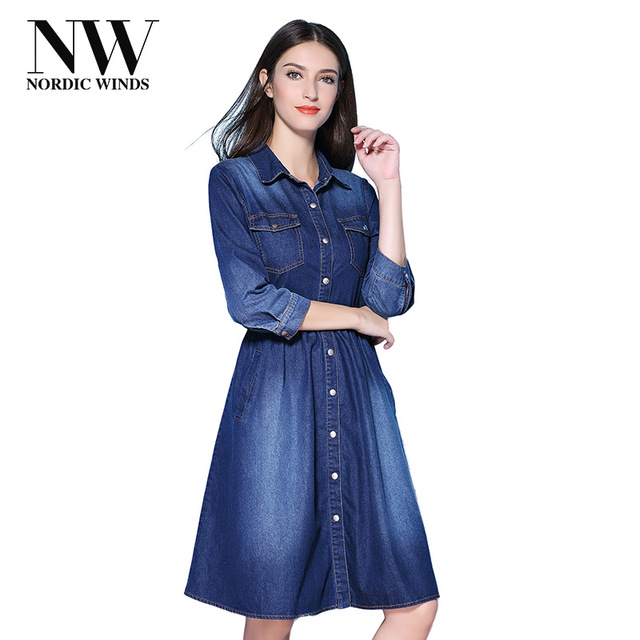 Nordic Winds Denim Dress Women Casual Fall A Line Denim Dresses Knee