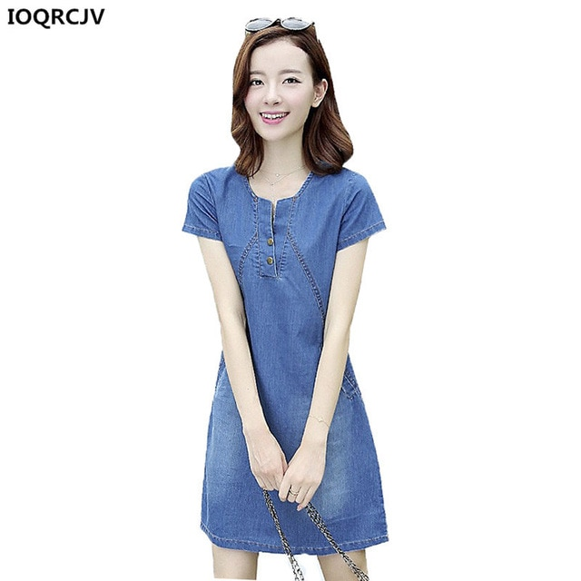 Summer Denim Dresses 2018 New Korean Style Women costume Big Size