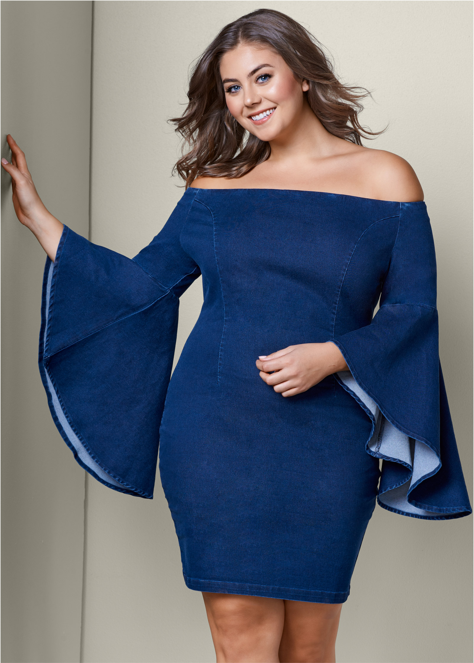 Plus Size SLEEVE DETAIL DENIM DRESS | VENUS