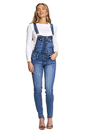 Womens Urban Look Denim Dungarees Ladies Denim Button Skinny