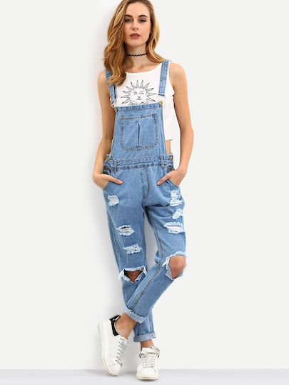 Cutout Ripped Denim Dungarees | SHEIN