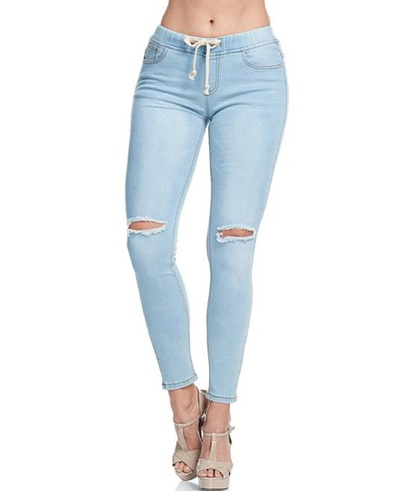 American Bazi Light Blue Wash Slit-Knee Skinny Denim Pants - Women