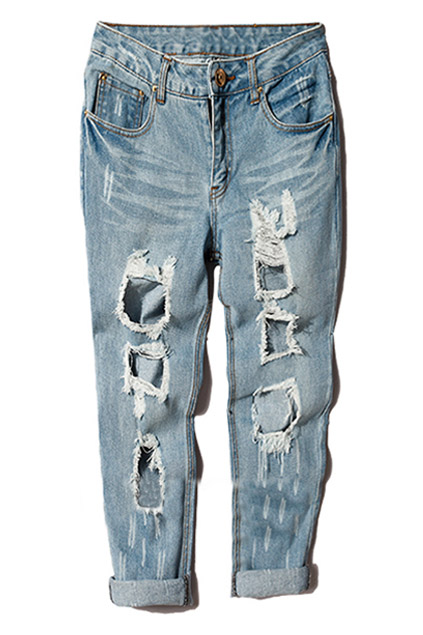 Cut-out Fading Denim Pants | ROMWE