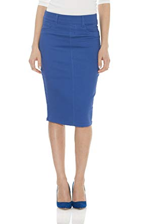 Esteez Women's Denim Pencil Skirt- Stretch Jean Knee Length