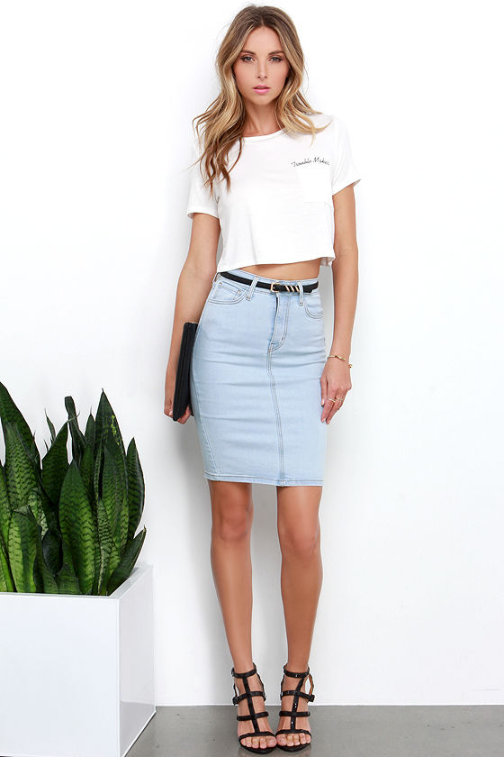 Light Blue Denim Skirt - Pencil Skirt - High-waisted Skirt - $49.00