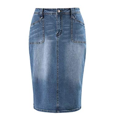 MSSHE Women's Plus Size High Waist Stretchy Pencil Denim Midi Skirt