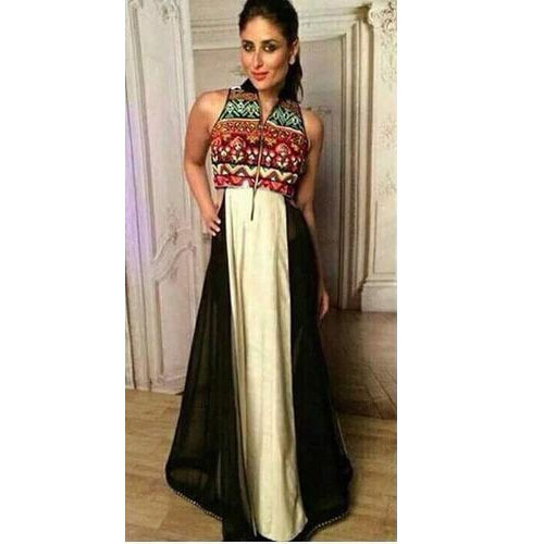 White And Black Georgette Bollywood Designer Dress, Rs 990 /piece