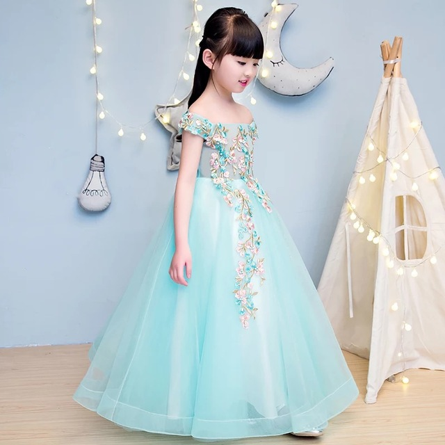 2017 summer girls flowers dress party princess ball gown designer