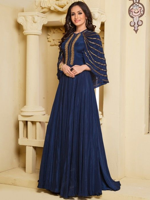 navy blue gown, designer gown, indian gown, party wear gown