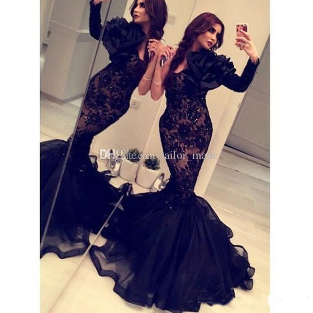 Arabic India 2018 Formal Mermaid Evening Dresses Long Sleeves Black