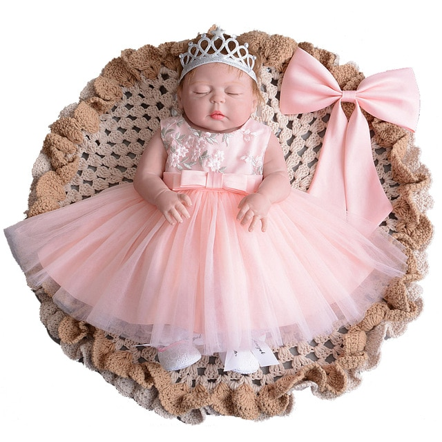 Floral Baby Girl Designer Dresses with Headband Gown Children Party