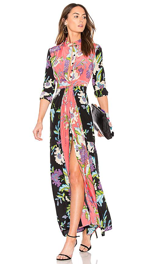 Diane von Furstenberg Floral Maxi Dress in Curzon Black, Curzon Pink