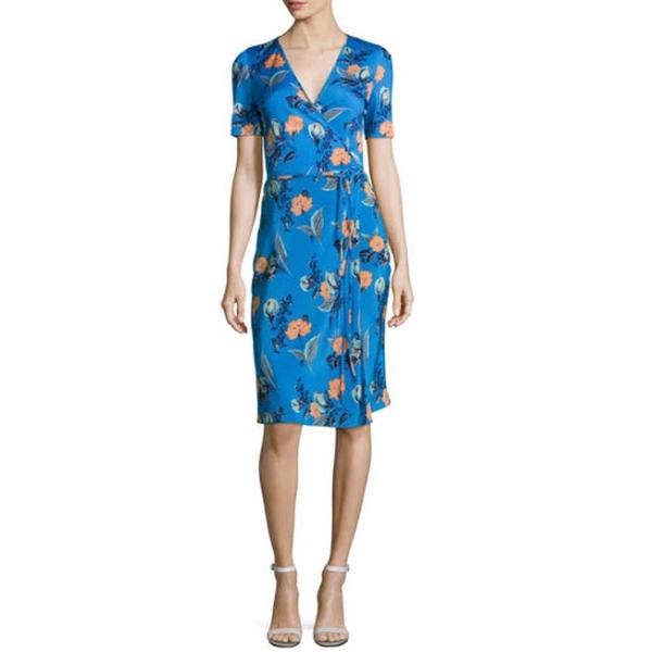 Diane von Furstenberg Floral Short-Sleeve Flared Wrap Dress | evaChic