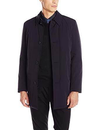 DKNY Men's Dorsey Slim Fit All Weather Coat, Black, 46 Long at