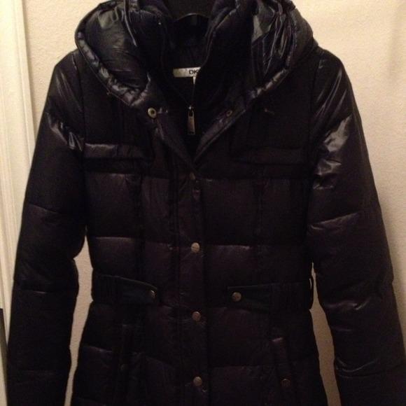 DKNY Jackets & Coats   Xs Black Long Puffer Jacket With Waist Belt