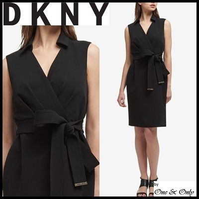 DKNY Tight Sleeveless V-Neck Plain Medium Dresses by One&Only - BUYMA