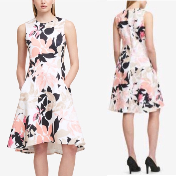 Dkny Dresses | Fit Flare Floral Dress | Poshmark