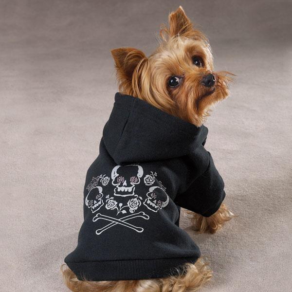 Zack & Zoey Fleece Skull & Crossbone Dog Pet Hoodie Puppy Pullover
