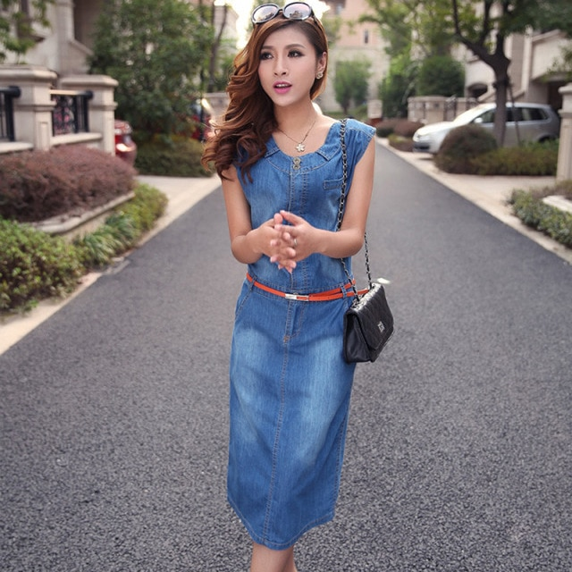 Women Short Sleeve Long Denim Summer Dress Casual Blue Jeans Dress