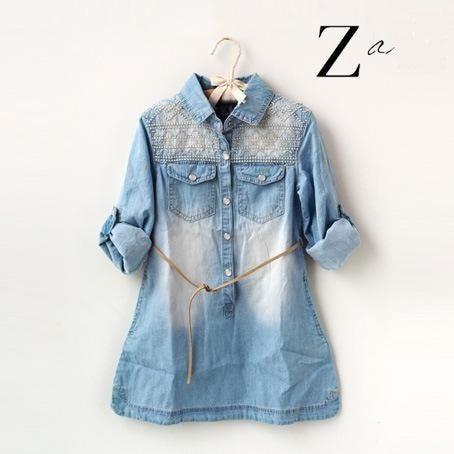 2015 new brand girl long sleeve denim shirt dress with embroidered