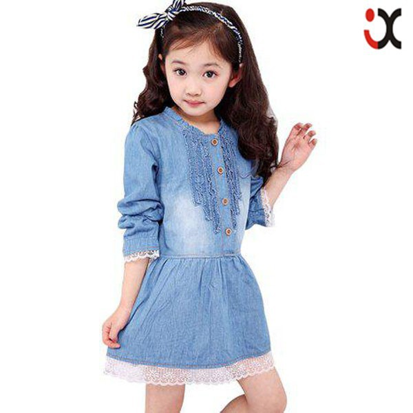 Denim Dress Kids Lace Princess Dresses Pictures Of Girls Cotton Tops