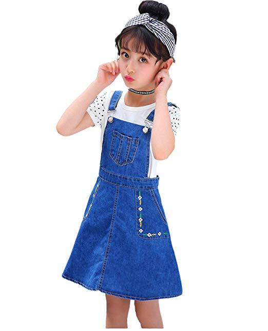 Amazon.com: Kidscool Girls Big Bibs Small Flowers Decor Summer Jeans