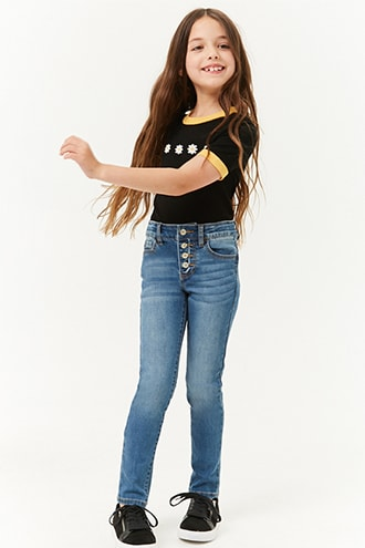 Girls Button Fly Jeans (Kids) | Forever 21