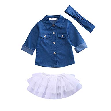 Amazon.com: Newborn Kids Baby Girls Jeans Denim Tops Shirt + Tutu
