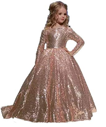 Amazon.com: hengyud Rose Gold Sequins Toddler Pageant Dresses Girls