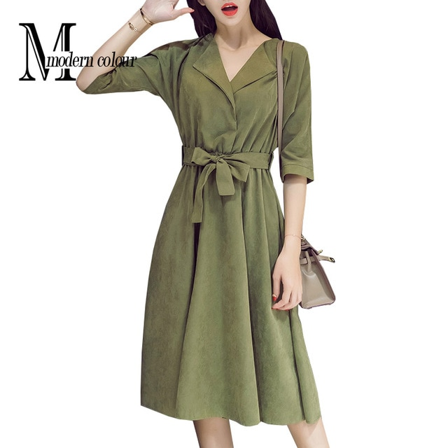 Everyday Casual Dresses Women Autumn 2018 New Arrival Suede Midi