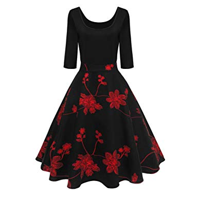 Lurdarin Floral Print Vintage Cocktail Party Swing Dresses for Women