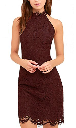Zalalus Women's Cocktail Dress High Neck Lace Dresses for Special