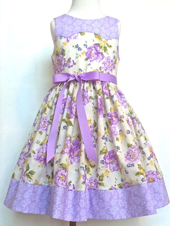 Girls Easter Dress Toddlers Easter Dress Lilac and Cream Floral