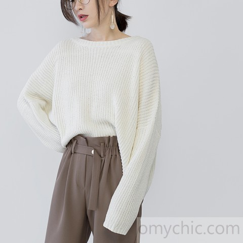 women beige knit sweaters Loose fitting O neck casual Batwing Sleeve
