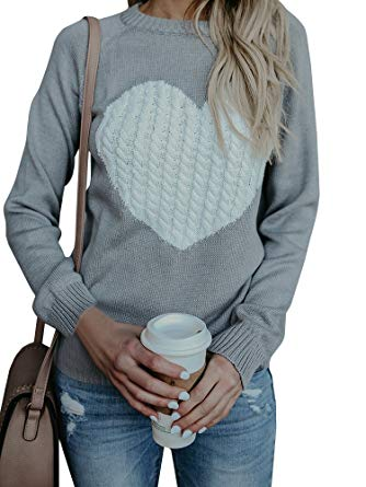 Womens Sweaters Cable Knit Heart Knitted Fall Chunky Pullover