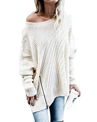 Womens Sweaters Fall Long Sleeve Oversized Loose Side Slit Knitwear