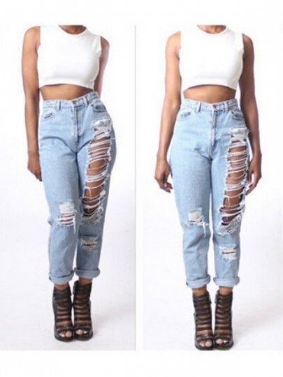 Light Blue Cut Out Pockets Zipper High Waisted Fashion Long Jeans
