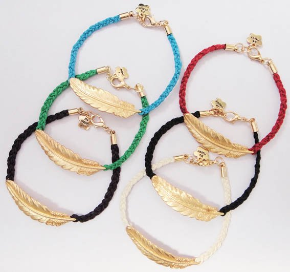 Fashion jewelry handmade accessories feather red string knitted