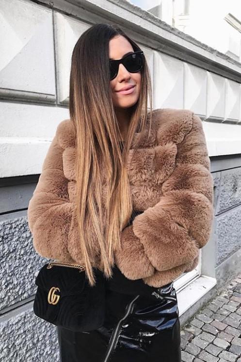 Blake Faux Fur Jacket Short Brown - Americandreams
