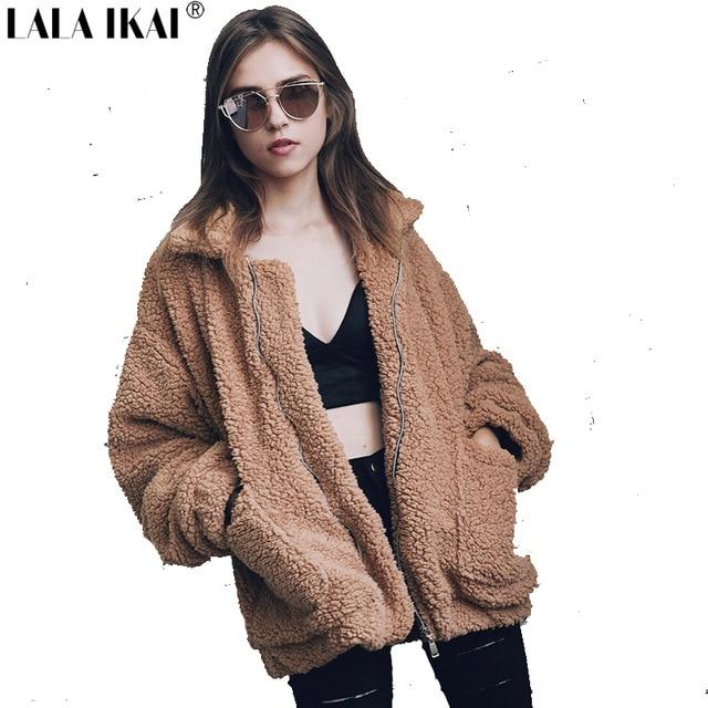 LALA IKAI 4 Colors Loose Faux Fur Jackets Women Plus Size 3XL 2XL