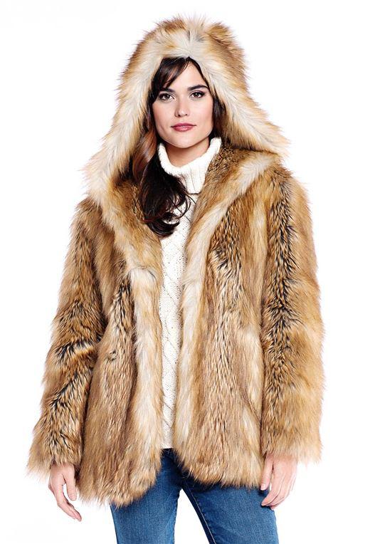 Gold Fox Hooded Faux Fur Jacket | Womens Faux Fur Jackets - Donna
