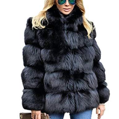 Women Winter Luxury Faux Fox Fur Vest Coat Slim Long Sleeve Collar