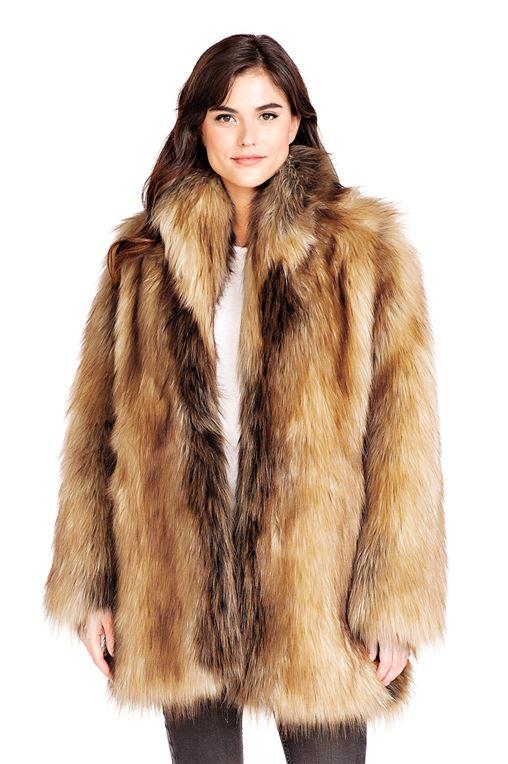 Red Fox Shawl Collar Faux Fur Jacket | Womens Faux Fur Shawls
