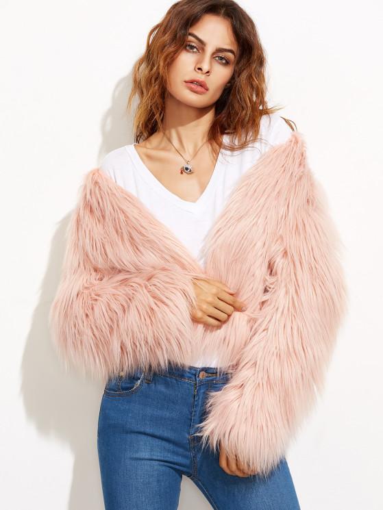 Pink Collarless Faux Fur Coat | MakeMeChic.COM