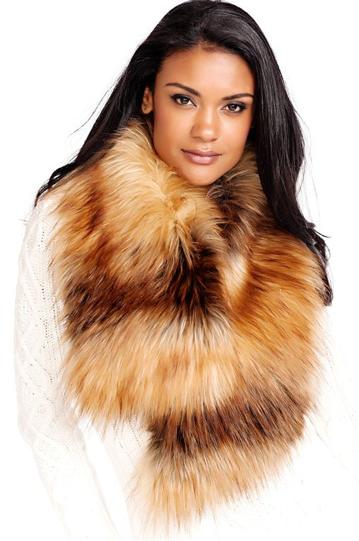 Red Fox Faux Fur Scarf with Clip | Womens Faux Fur Scarves - Donna