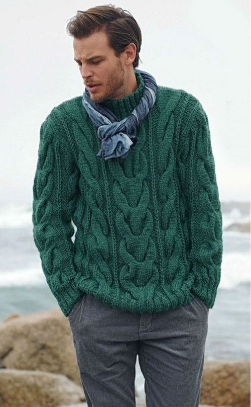 Men's Sweater Hand Knit Fisherman Sweater cable Pattern | tvkstyle