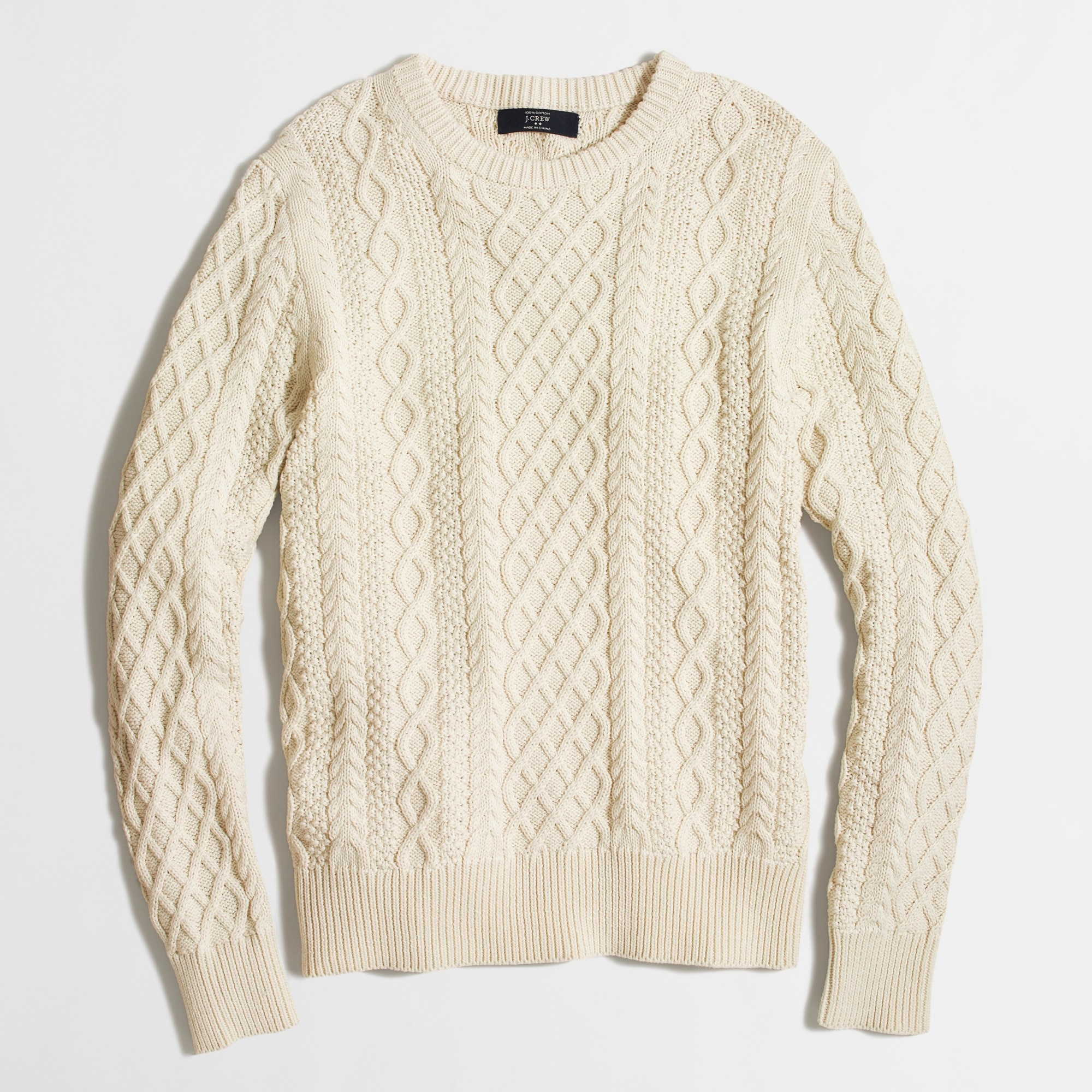 Fisherman cable crewneck sweater : | Factory