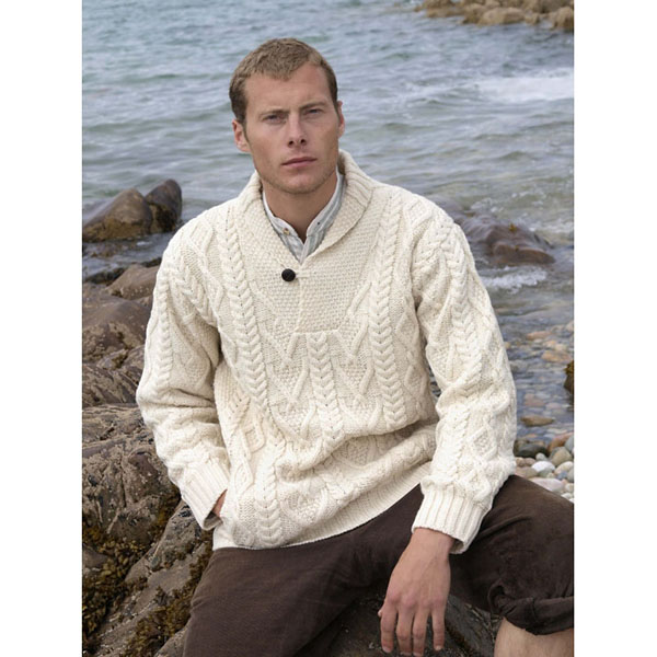 Aran Shawl Neck Fisherman Sweater | Irish Central Shop