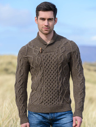 Fisherman sweater, shawl neck | Aran Sweater Market