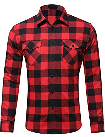 DOKKIA Men's Dress Buffalo Plaid Checkered Fitted Long Sleeve